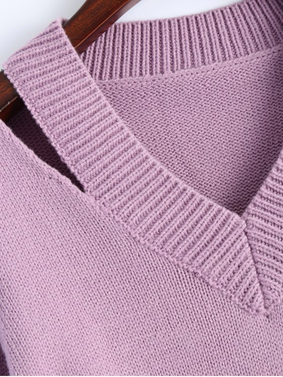 Pullover Zipper V Neck Sweater - PINK XL Mobile