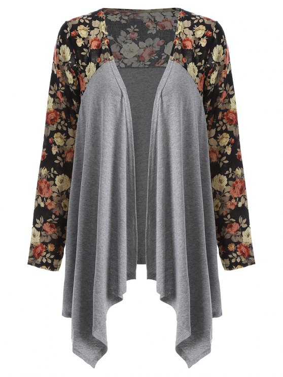 Floral Print Duster Coat - GRAY XL Mobile