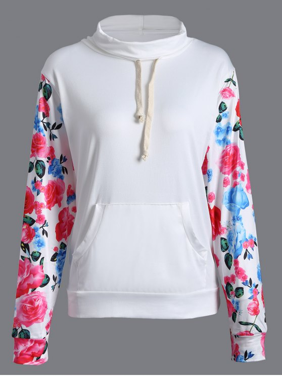 String Floral Sweatshirt - WHITE L Mobile