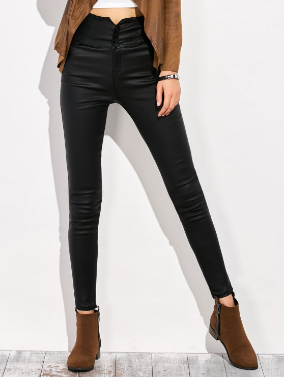Skinny Criss Cross Pencil Pants - BLACK L Mobile