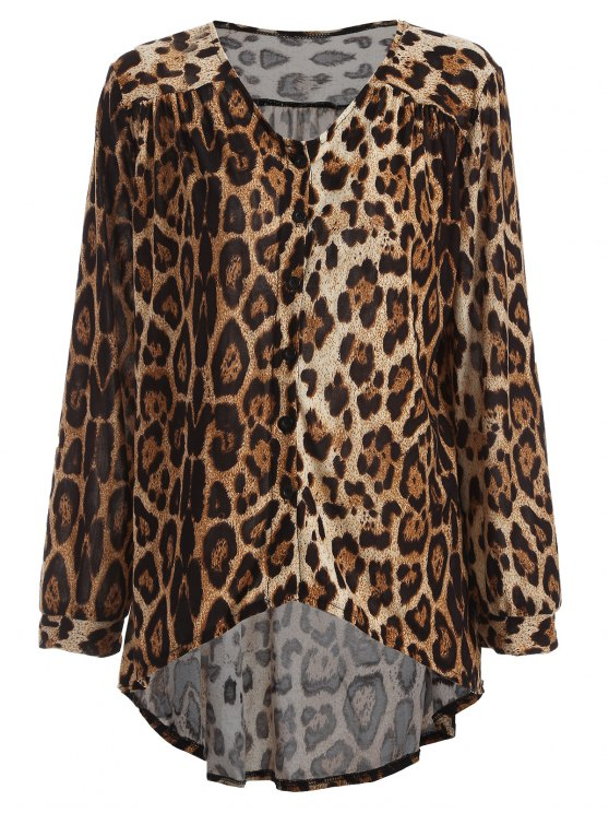 Léopard High-Low Blouse - Brun TAILLE MOYENNE