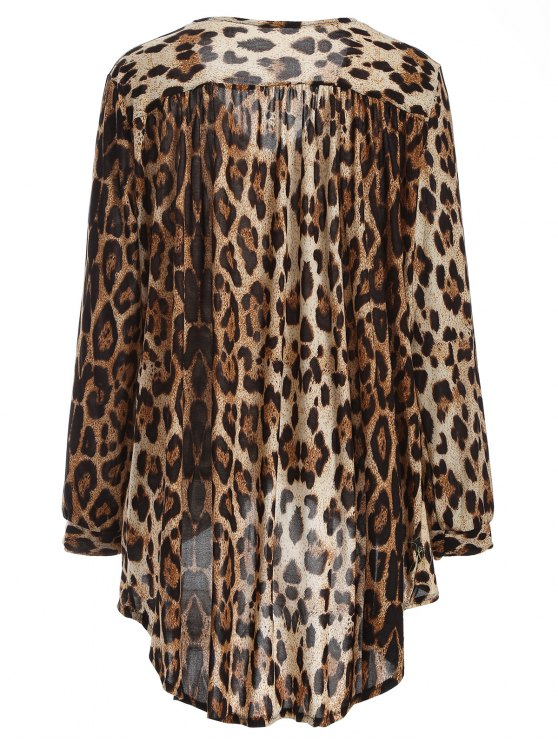 Leopard High-Low Blouse - BROWN ONE SIZE Mobile