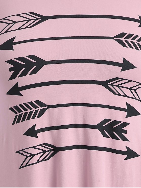 Arrow Pattern Irregular Hem Tee - PINK XL Mobile
