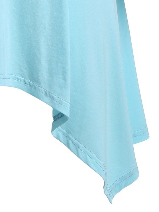 Arrow Pattern Irregular Hem Tee - LIGHT BLUE 2XL Mobile