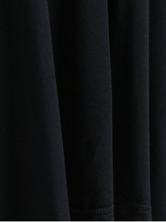 Arrow Pattern Irregular Hem Tee - BLACK 2XL Mobile