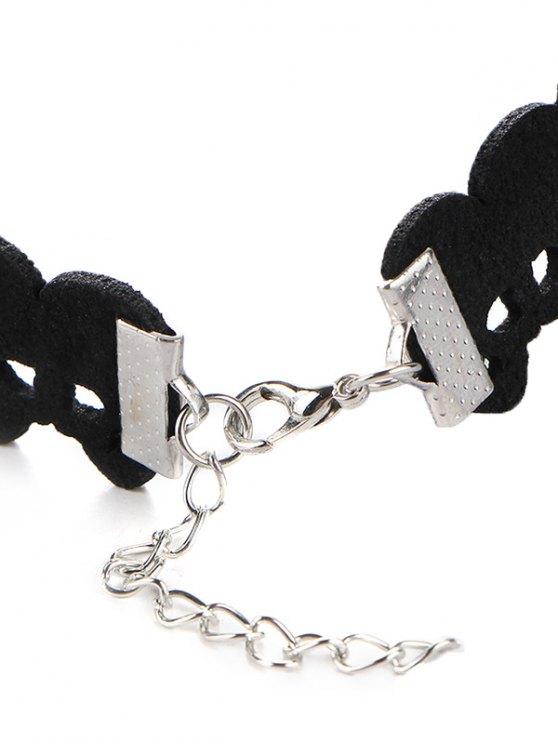 Faux Leather Velvet Skulls Choker Necklace - BLACK  Mobile