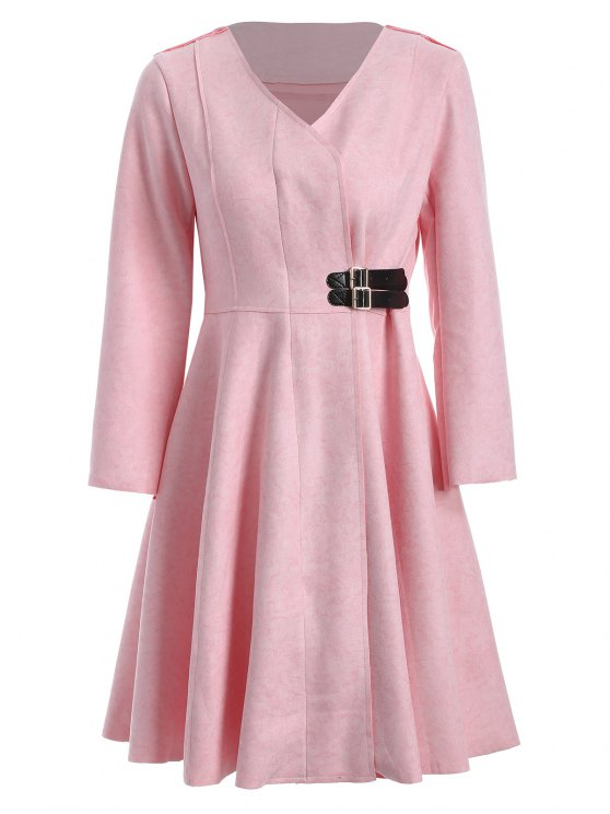 women Patched Fit and Flare Dress - PINK M