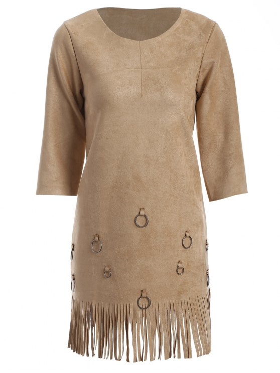 Tassels A-Line Dress - CAMEL M Mobile