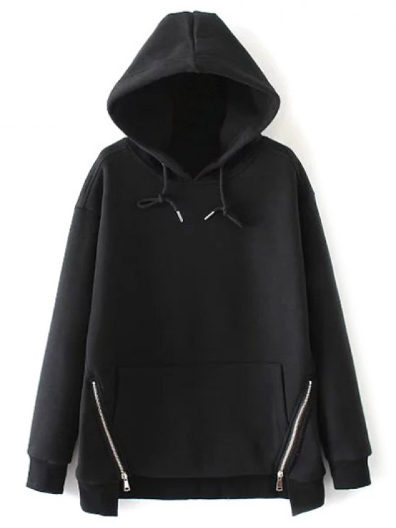 String Zippered Hoodie - BLACK M Mobile