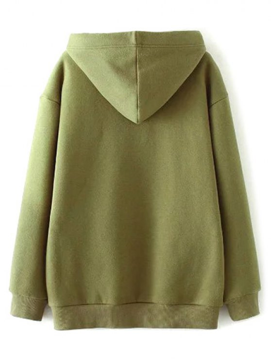 String Zippered Hoodie - ARMY GREEN S Mobile