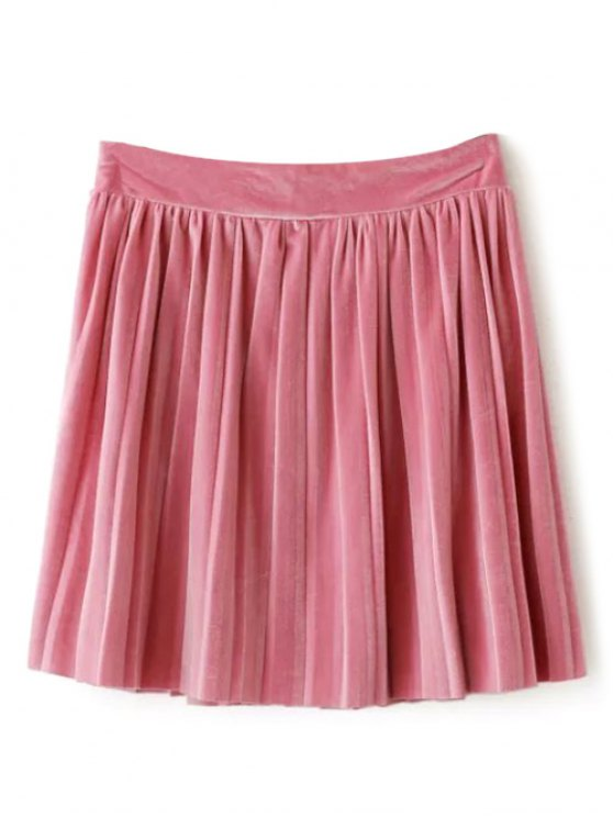 Velour Pleated Skirt - LIGHT PINK M Mobile