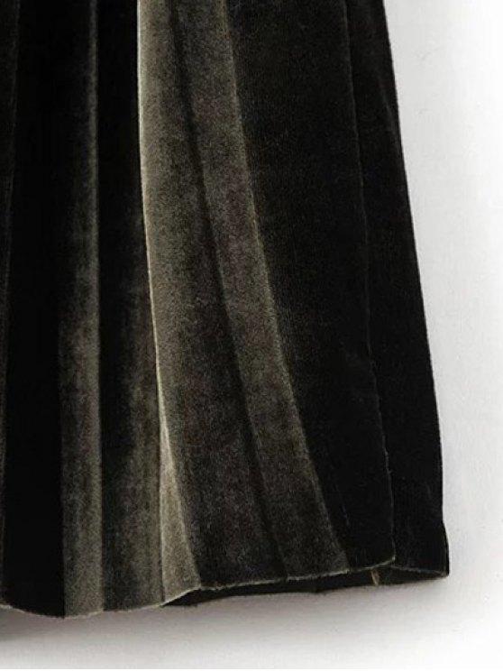 High Waist Midi Pleated Skirt - BLACKISH GREEN ONE SIZE Mobile