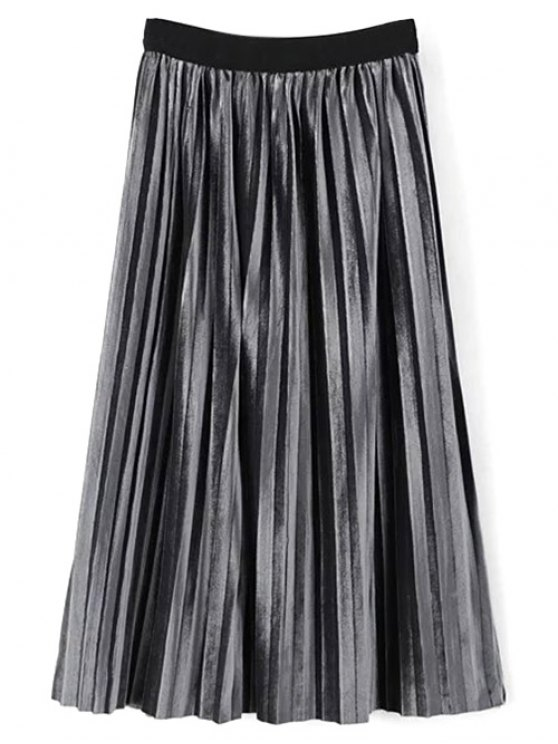 unique High Waist Midi Pleated Skirt - FROST ONE SIZE