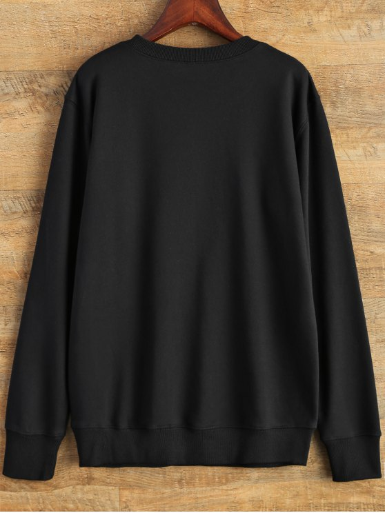 Graphic Crew Neck Streetwear Sweatshirt - BLACK M Mobile