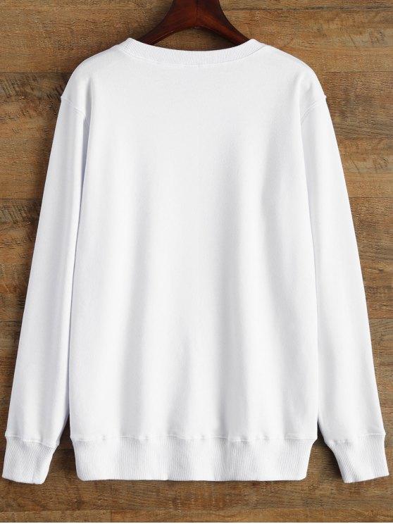 Graphic Crew Neck Streetwear Sweatshirt - WHITE L Mobile