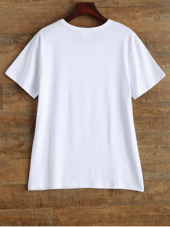Jewel Neck Alien T-Shirt - WHITE L Mobile