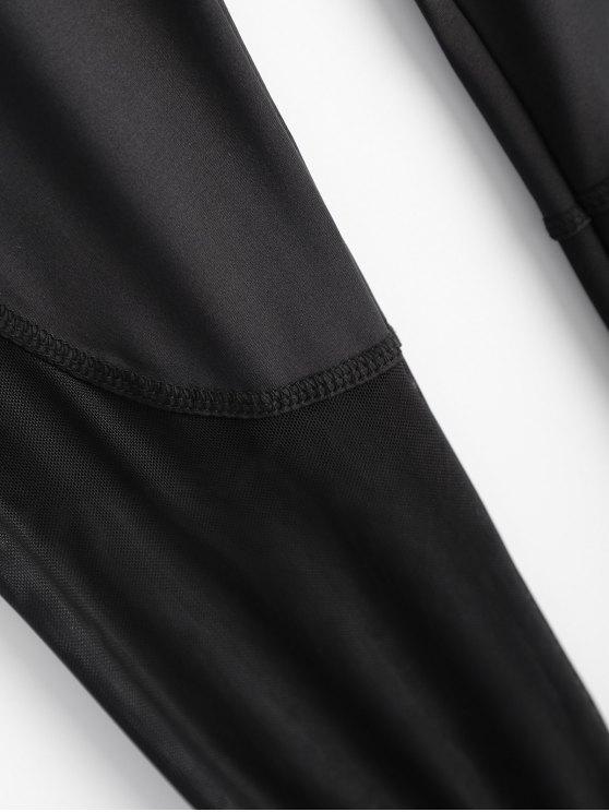 Skinny See-Through Leggings - BLACK L Mobile