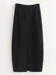High Waist Midi Sweater Pencil Skirt - Black