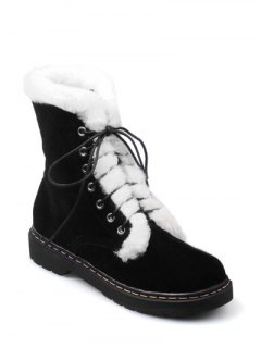 Faux Fur Stitching Tie Up Short Boots - Black 37