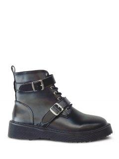 Double Buckle Platform Tie Up Ankle Boots - Black 38
