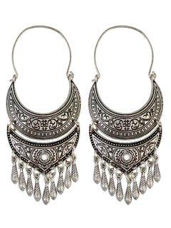 Crescent Tear Drop Earrings - Silver