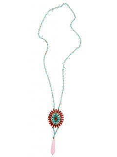 Bohemian Rhinestone Beaded Flower Sweater Chain - Red
