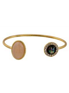 Artificial Gemstone Rhinestone Cuff Bracelet - Golden