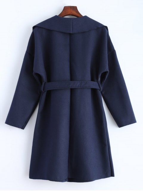 hot Wrap Woolen Coat With Pockets - DEEP BLUE L Mobile