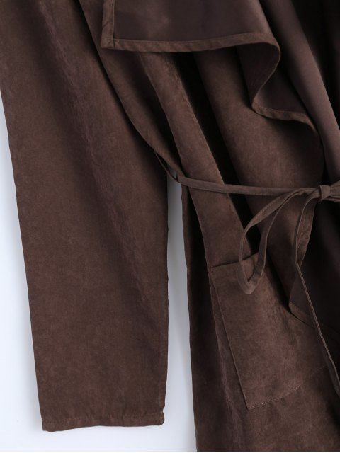 buy Faux Suede Duster Coat - BROWN M Mobile