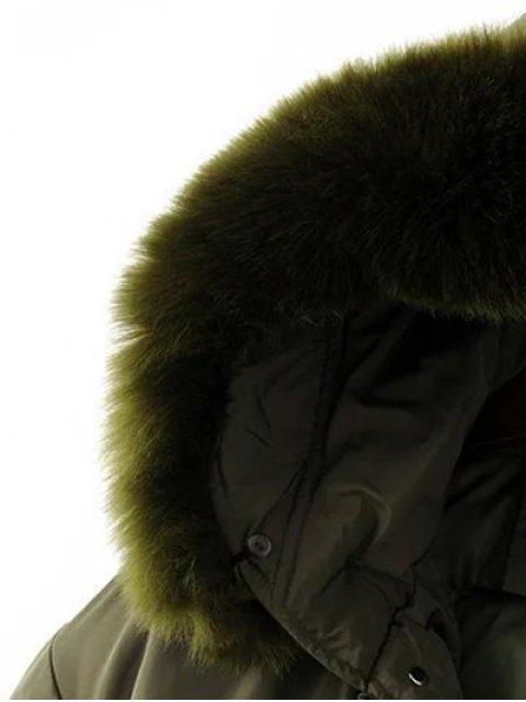 hot Drawstring Zip-Up Puffer Coat - BLACK XL Mobile