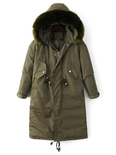 latest Drawstring Zip-Up Puffer Coat - GREEN M Mobile
