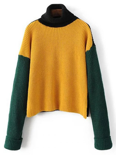 fancy Turtleneck Chunky Sweater - YELLOW ONE SIZE Mobile