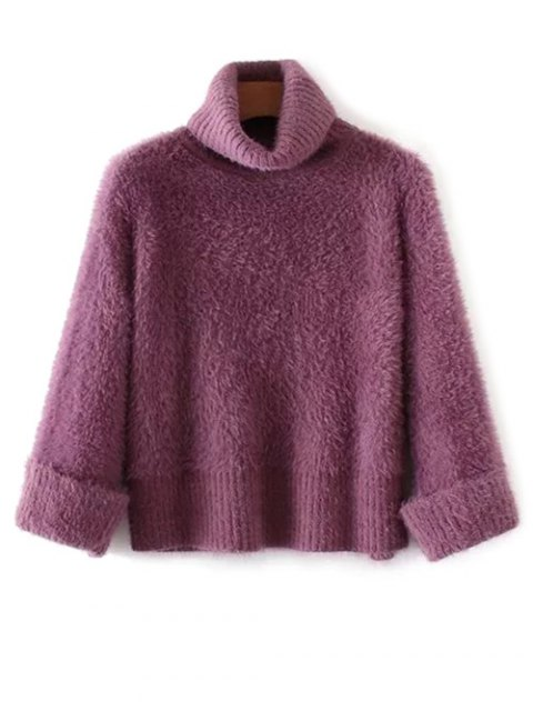 affordable Fuzzy Turtleneck Sweater - PURPLE ONE SIZE Mobile