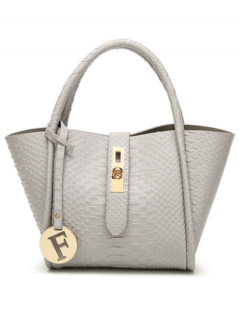ladies Metal Pendant Crocodile Embossed Handbag - GRAY  Mobile