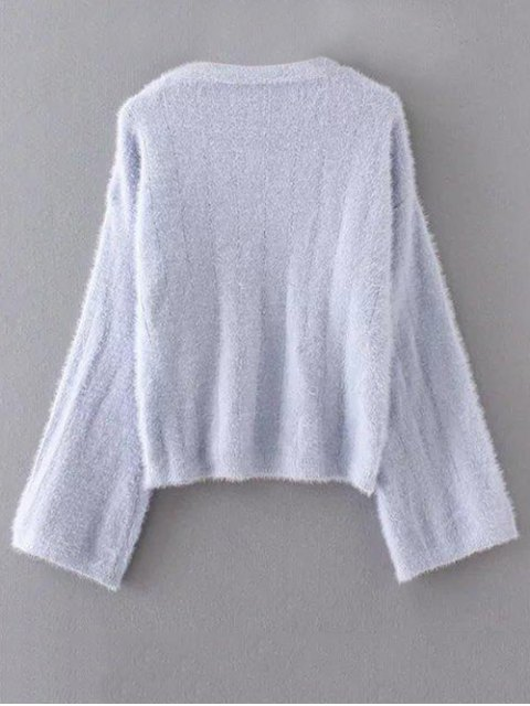 womens Oversized Fuzzy Sweater - GRAY ONE SIZE Mobile