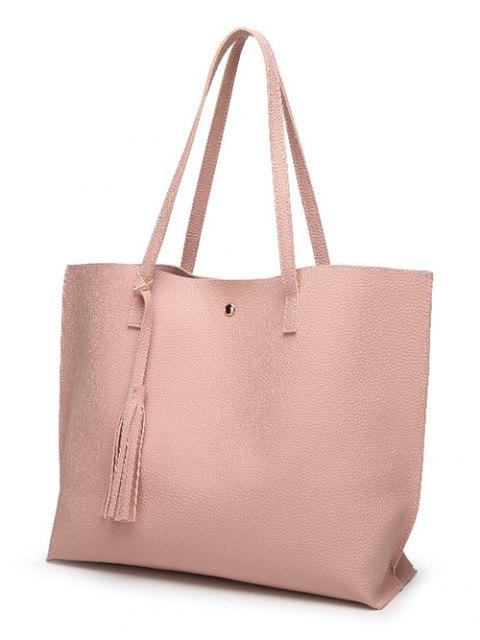 latest Textured PU Leather Tassel Shoulder Bag - PINK  Mobile