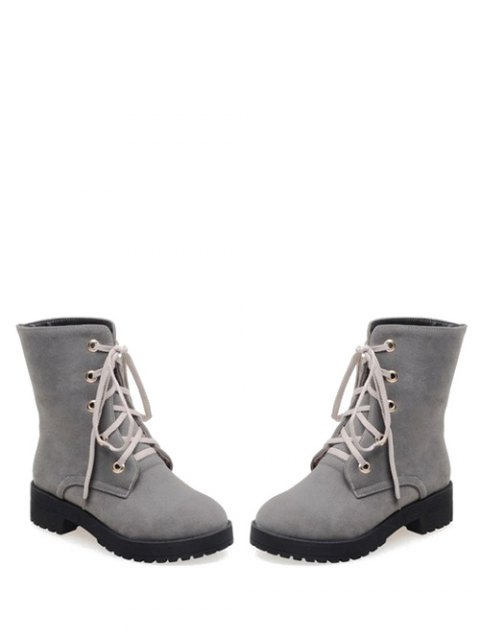 fashion Dark Color Tie Up Platform Ankle Boots - GRAY 38 Mobile