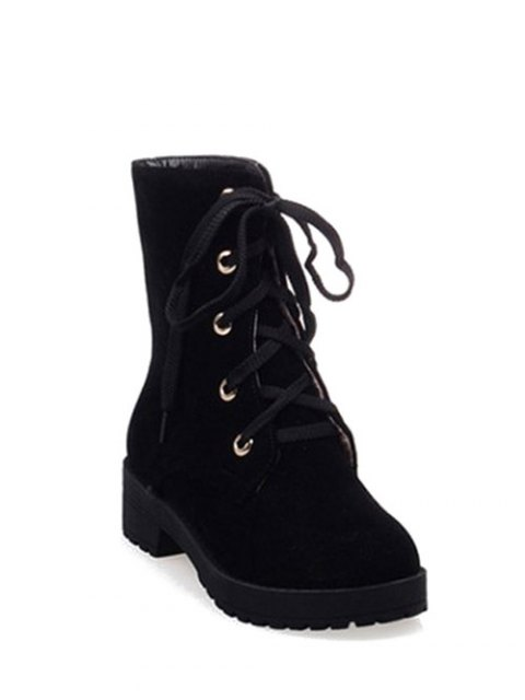fancy Dark Color Tie Up Platform Ankle Boots - BLACK 37 Mobile