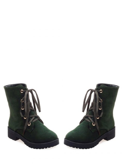 sale Dark Color Tie Up Platform Ankle Boots - ARMY GREEN 39 Mobile