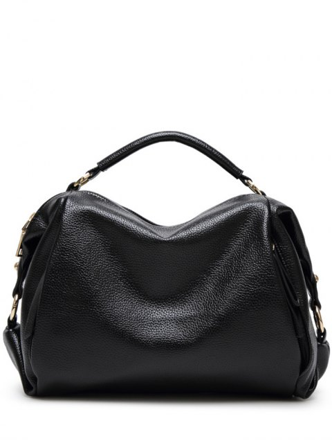 outfit Metallic Zips Textured Tote - BLACK  Mobile