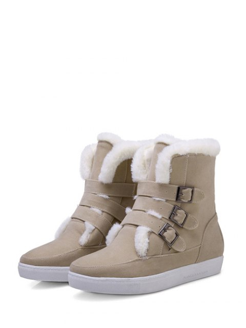 online Buckles Faux Fur Flat Heel Short Boots - OFF-WHITE 39 Mobile