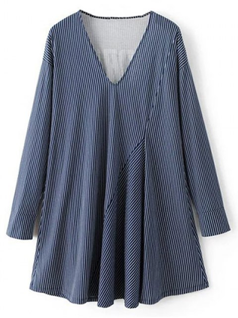 women's Letter Striped Long Sleeve Dress - BLUE S Mobile