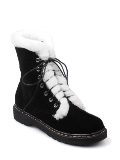 affordable Faux Fur Stitching Tie Up Short Boots - BLACK 38 Mobile