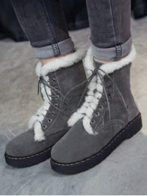 buy Faux Fur Stitching Tie Up Short Boots - GRAY 39 Mobile