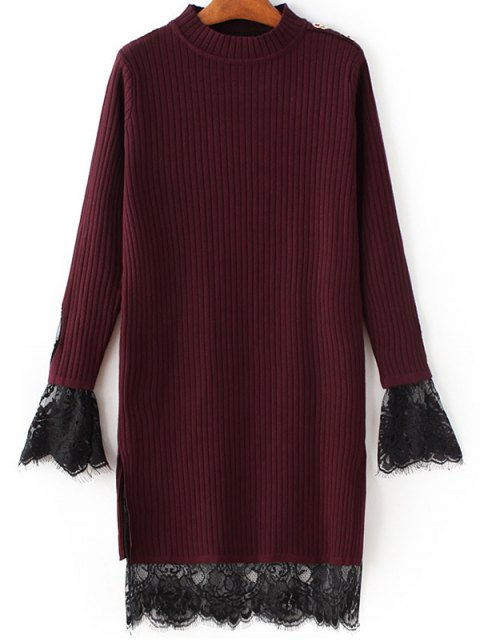 best Lace Panel Cut Out Knitting Dress - WINE RED ONE SIZE Mobile