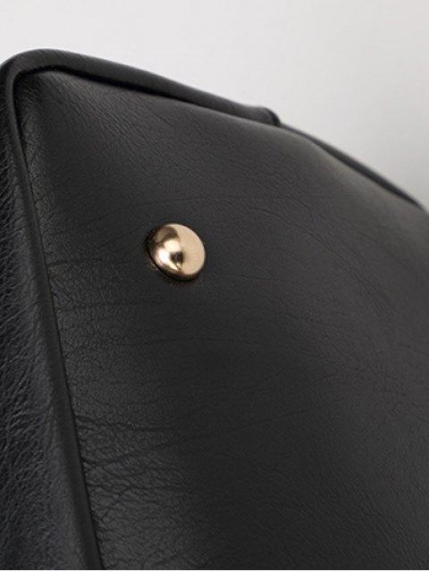 shops Metal Chains PU Leather Handbag - BLACK  Mobile