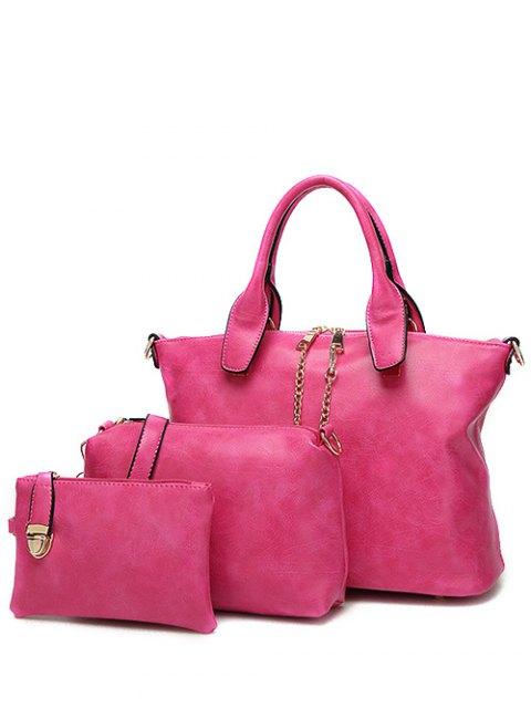 Chaînes en métal cuir PU Handbag - rose  Mobile