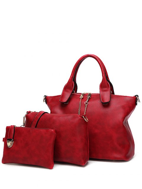 trendy Metal Chains PU Leather Handbag - WINE RED  Mobile