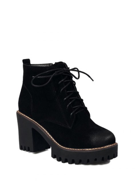 ladies Tie Up Chunky Heel Zip Ankle Boots - BLACK 37 Mobile