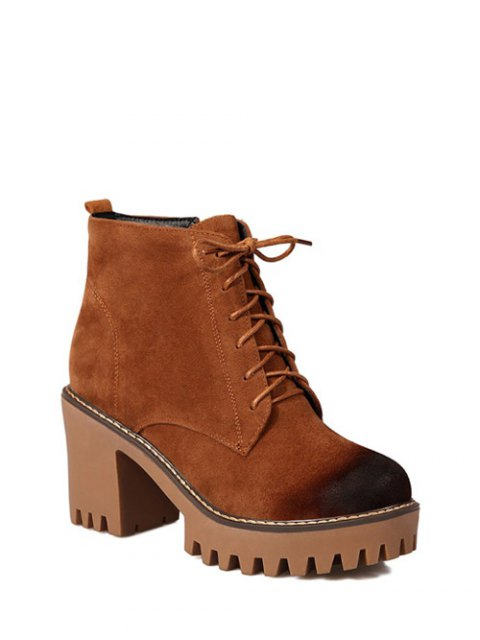 best Tie Up Chunky Heel Zip Ankle Boots - BROWN 39 Mobile